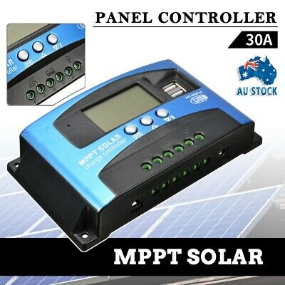 30A MPPT Solar Panel Regulator Battery Charger Controller 12/24V With LCD USB