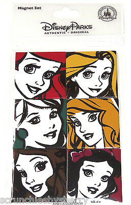 Disney Princess Magnet Set Ariel Belle Snow White Cinderella Rapunzel Theme Park
