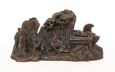 Antique Chinese Carved Hard Wood Statue Figure Sculpture Scene