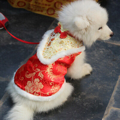 Chinese Style Pet Dog Puppy Tang Costume Flower Embroidery New Year Coat Jacket