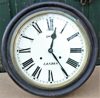 Old Large Round Wooden Cased Wall Clock Working Spares Repair