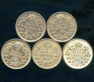 5 Canada Silver 5 Cent Coins 1914 1917 1918 1919 & 1920