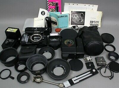 7 Pound PHOTO BOX LOT CAMERAS FLASHES AS-IS for PARTS/REPAIR CAPS BROCHURES