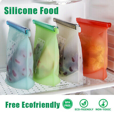 Reusable Bags Silicone Food Storage Bags Leak Proof BPA Free Ecofriendly