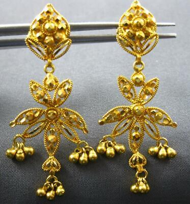 Antique 22Kt Yellow Gold Handcrafted Flower Filigree Chandelier Hanging Earrings