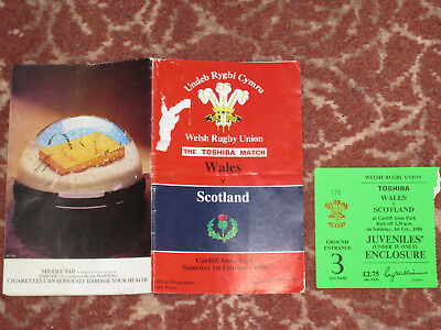 Wales v Scotland 1986 Welsh Rugby Union Programme + TICKET Cardiff Arms Park Feb