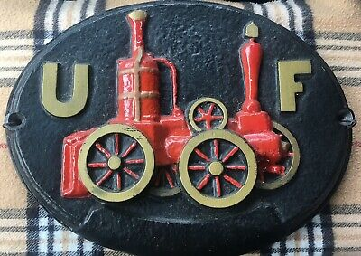 Antique 1800s Embossed Cast Iron Fire Marked UF Union Fire Steamer Engine Sign