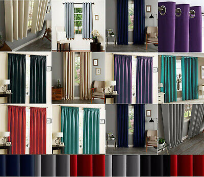 Thermal Blackout Curtains Ready Made Eyelet Ring Top Or Pencil Pleat + Tie Backs