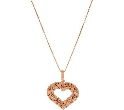 """Rose Sterling Silver Heart Shaped Byzantine Enhancer 18"""" Pendant Necklace Qvc"""