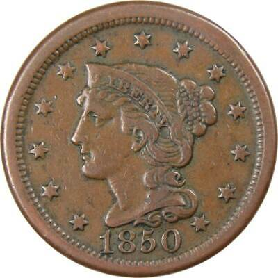 1850 1c Braided Hair Large Cent Penny Coin VF Very Fine