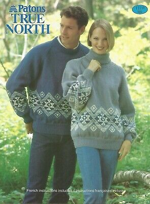 """FAIR ISLE PATTERN PATONS 1089~CHUNKY~SIZE.30/""""TO XL ENGL /&FRENCH"""