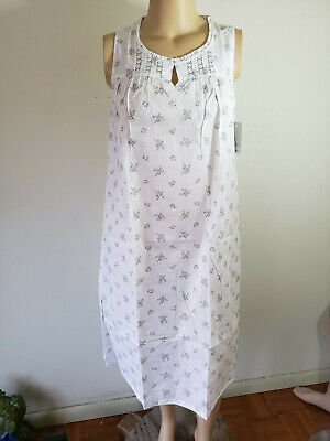 NWT Women's Sleeveless Nightgown Croft & Barrow 100% Woven Cotton White Floral