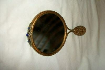 Antique French Ormolu Filigree Jeweled Hand Mirror Bronze Lovely