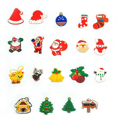 50pcs Christmas Decoration PVC Shoe Charms Buckles Fit for Shoes Bands Xmas Gift