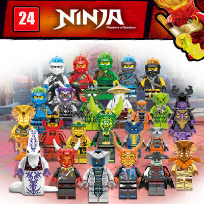 24 Pcs Ninjago Mini Figures Kai Jay Zane Char Akita Building Blocks Toys Set UK