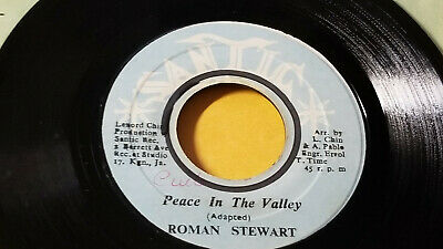 """RARE / ROMAN STEWART - PEACE IN THE VALLEY  / ROOTS REGGAE 7""""   on SANTIC LABEL"""