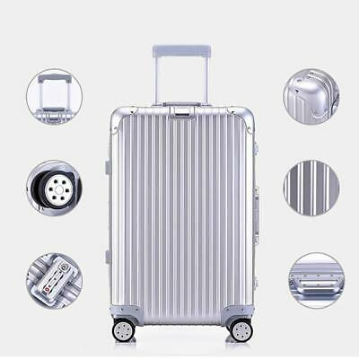 24'' 4 Wheel Suitcase Travel Cabin Bag Carry On Hard Case Hand Luggage Silver