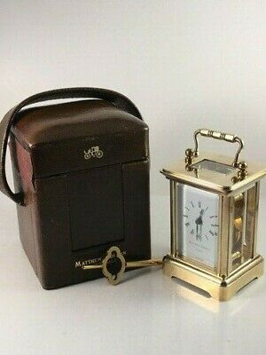 Miniature Swiss Carriage Clock & Travel Case. Full Clean And Service Nov. 2019