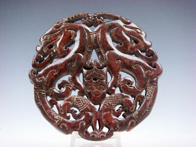 Old Nephrite Jade 2 Sides LARGE Pendant 2 Curly Dragons & 2 Phoenix #11221915
