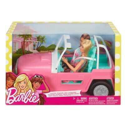Barbie Jeep with 2 Dolls - Girls Christmas Toy Playset Doll Giftset - Pink Toys