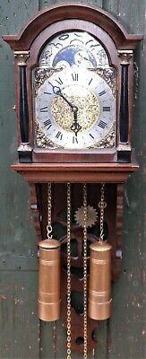 Beautiful Wooden St James Of London Double Weighted Moonphase Wall Clock