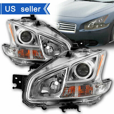For 2009-2014 Maxima Halogen Model Chrome Headlights Lamp Replacement Left+Right