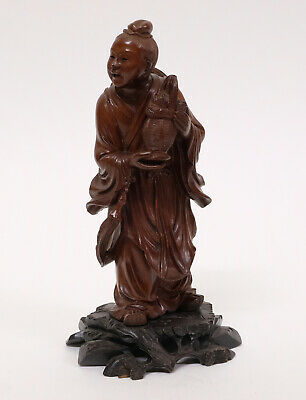 Beautiful Antique Chinese Carved Wooden Figure Statue of a Man with Basket
