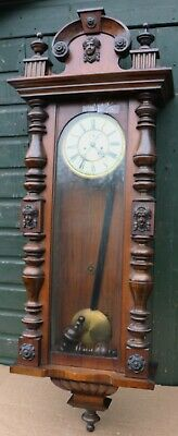 Fab Large Old Impressive Looking Double Weighted Vienna Wall Clock To Restore