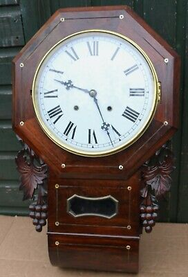 Old Very Fancy Looking Large Wooden Cased Wall Clock