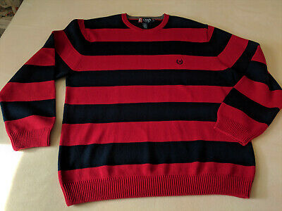 Chaps Ralph Lauren Rugby Sweater Red Blue Wide Stripe L/G 100% cotton