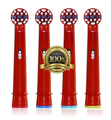 4x Oral B Replacement Heads Braun Electric Childrens Kids Toothbrush Head Red