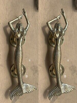 "2 basic MERMAID door handle 14"" solid 100% hollow brass door PULL polished B"
