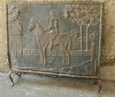 VINTAGE Brass Fireplace Screen Drover on Horse Australian Outback Scene