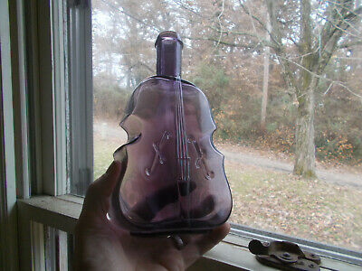 "Amethyst Hand Blown Big Fat Violin Figural Bottle 9 5/8""Tall 2""Thick 5 1/4"" Wide"
