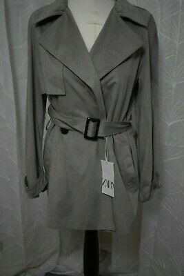BNWT Zara Faux Suede Trench Coat Size Small/10