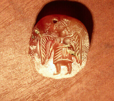 Unidentified Intaglio Ancient Seal, Winged Person, Agate