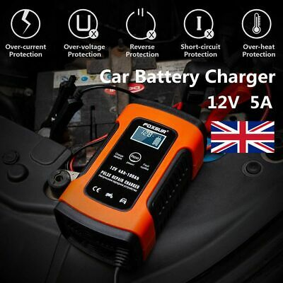 LCD Car Battery Charger 12V 5A Intelligent Automobile Motorcycle Pulse Repair UK