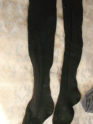 Vintage 40s 50s Childs Knee Socks Black Cotton XS S Girls VGC
