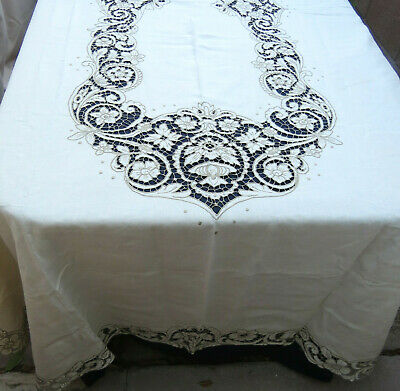 Antique Linen Floral Embroidered Tablecloth Beige 66 x 110 Banquet