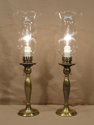 Antique Lamps Bradley Hubbard Brass Candlestick Etched Glass Table Mantle Vtg