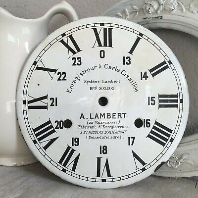 "Antique Clock Face Dial A. Lambert French Decor Parts 10 1/2"" Porcelain"