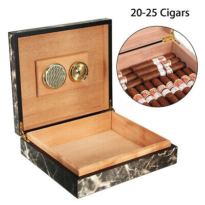25 Count Cigar Humidor Humidifier Marble Cedar Box Wooden Lined Case +Hygrometer