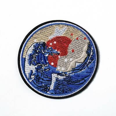 Vintage Embroidered Patches Iron Sew On Patch Badge applique Wave off Kanagawa