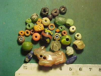 30+ Ancient beads circa 1000 BC- 1700 AD +  an ancient amulet of banded agate