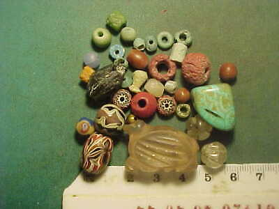 30+ Ancient beads circa 1000 BC- 1700 AD +  an ancient amulet of rock crystal