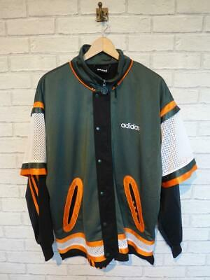 Mens ADIDAS Spell Out Vintage 1990s Popper Tracksuit Top Jacket D6 Large #B3001