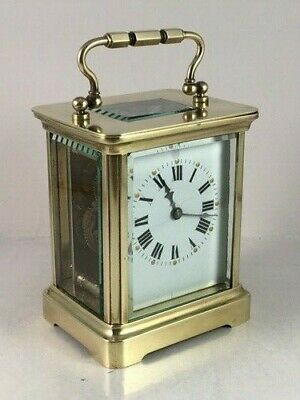 Antique French brass carriage clock & key. Complete overhaul/service Nov. 2019.