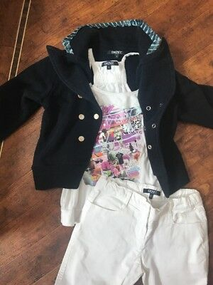 DKNY Outfit, White Jeans, Vest Top & Navy Jacket, 6 Years