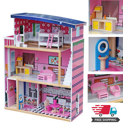 Girls Dream Sweet Wooden Pretend Play House Dollhouse Mansion with 18xFurniture