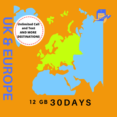 UK and Europe Travel Sim Card | 30 Days | 12GB Unlimited Calls & Text 71 Country